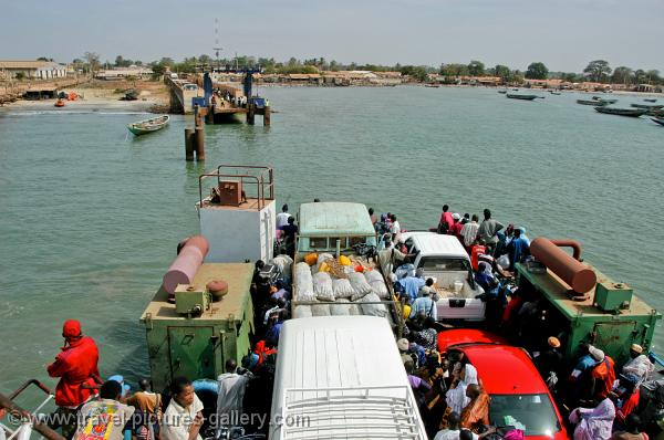 A ferry crossing the Gambia river